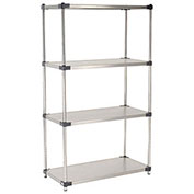 "Stainless Steel Solid Shelving, 48""W x 24""D x 74""H"
