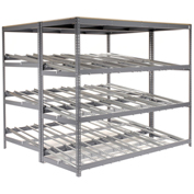 "3 Level Carton Flow Shelving, Double Depth, 96""W x 84""D x 84""H"