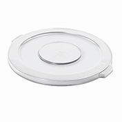 Flat Lid For 20 Gallon Brute Round Trash Container, White