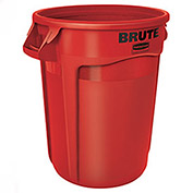 RUBBERMAID Brute® 32 Gallon Trash Container w/Venting Channels - Red