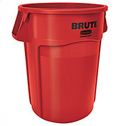 Rubbermaid Brute Trash Container w/Venting Channels, 44 Gallon, Red