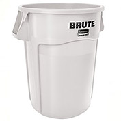 Rubbermaid Brute Trash Container w/Venting Channels, 44 Gallon, White