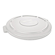 Brute Flat Lid For 44 Gallon Round Trash Container, White