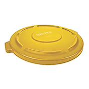 Flat Lid For 44 Gallon Round Trash Container, Yellow