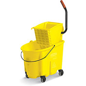 RUBBERMAID WaveBrake Mop Bucket/Wringer System - 35-Quart Capacity - Side Wringer - Yellow