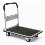 "Folding Platform Truck, Solid Steel Deck, 35 x 23, 600 Lb. Capacity, 5"" Rubber Wheels"