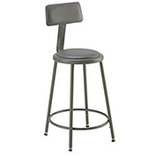 "Vinyl Upholstered Steel Shop Stool With Padded Back Rest 18-27""H - Pkg Qty 2"