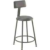 "Vinyl Upholstered Steel Shop Stool With Padded Back Rest 24-33""H - Pkg Qty 2"