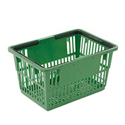 "Plastic Shopping Basket with Plastic Handle, Standard, 17""L X 12""W X 9""H, Green - Pkg Qty 12"