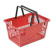 "Plastic Shopping Basket with Plastic Handle, Standard, 17""L X 12""W X 9""H, Red - Pkg Qty 12"