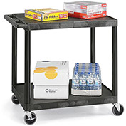 "LUXOR | H. WILSON Flush-Shelf Carts - 24""Wx18""D Shelf - 33""H - 2 Shelves - Black"