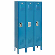 Single Tier Locker, 12x18x60 3 Door, RTA, Blue