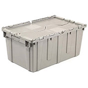 Distribution Container With Hinged Lid, 21-7/8x15-1/4x17-1/4, Gray
