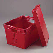 Postal Mail Tote With Lid, Corrugated Plastic, Red, 18-1/2x13-1/4x12 - Pkg Qty 10