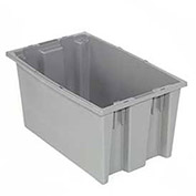 Stack And Nest Shipping Container No Lid, 18x11x9, Gray - Pkg Qty 6