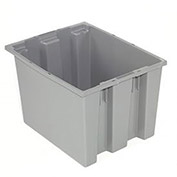 Stack And Nest Shipping Container No Lid, 23-1/2x15-1/2x12, Gray - Pkg Qty 3