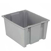Stack And Nest Shipping Container No Lid, 29-1/2x19-1/2x15, Gray - Pkg Qty 3