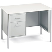 "MBI Single-Pedestal Desk - 40x24x29-1/2"" - Gray Desk/Gray Laminate Top"