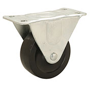 "Light Duty Rigid Plate Caster 4"" Rubber Wheel"