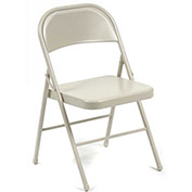 All Steel Folding Chair, Beige - Pkg Qty 4