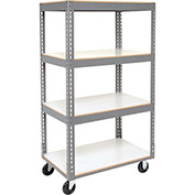 "Easy Adjust Boltless 4 Shelf Truck, Laminate Shelves, Polyurethane Casters, 36""L x 18""W x 65""H"