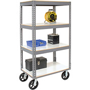 "Easy Adjust Boltless 4 Shelf Truck, Laminate Shelves, Rubber Casters, 36""L x 24""W x 68""H"