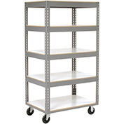 "Easy Adjust Boltless 5 Shelf Truck, Laminate Shelves, Polyurethane Casters, 36""L x 24""W x 65""H"
