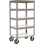 "Easy Adjust Boltless 5 Shelf Truck, Laminate Shelves, Rubber Casters, 36""L x 24""W x 68""H"