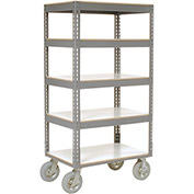 "Easy Adjust Boltless 5 Shelf Truck, Laminate Shelves, Pneumatic Casters, 36""L x 24""W x 68""H"