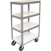 "Easy Adjust Boltless 4 Shelf Truck, Laminate Shelves, Rubber Casters, 48""L x 24""W x 68""H"