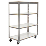 "Easy Adjust Boltless 4 Shelf Truck, Laminate Shelves, Polyurethane Casters, 60""L x 24""W x 65""H"