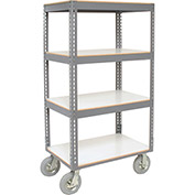 "Easy Adjust Boltless 4 Shelf Truck, Laminate Shelves, Pneumatic Casters, 60""L x 24""W x 68""H"