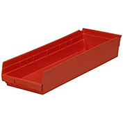 "Plastic Shelf Bin Nestable 8-3/8""W x 23-5/8"" D x 4""H Red - Pkg Qty 6"