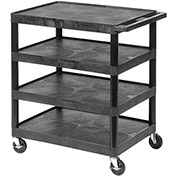 "LUXOR | H. WILSON Flush-Shelf Carts - 24""Wx18""D Shelf - 36""H - 4 Shelves - Black"