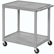 "LUXOR | H. WILSON Flush-Shelf Carts - 32""Wx24""D Shelf - 33""H - 2 Shelves - Gray"