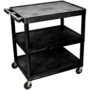 "LUXOR | H. WILSON Flush-Shelf Carts - 32""Wx24""D Shelf - 33""H - 3 Shelves - Black"