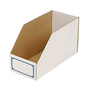 "Foldable Corrugated Shelf Bin 7-3/4""W x 17-1/2""D x 10""H, White - Pkg Qty 27"