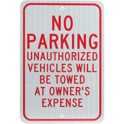 No Parking Unauthorized Vehicles Aluminum Sign, .08mm Thick