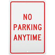 No Parking Anytime Aluminum Sign, .063mm Thick