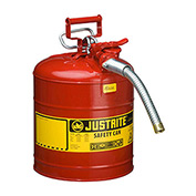"""Justrite 7250130 Type II AccuFlow Steel Safety Can, 5 Gallon, With 1"""" Metal Hose"""