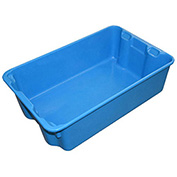 "Molded Fiberglass Nest and Stack Tote 780308-5268 - 19-3/4"" x 12-1/2"" x 6"" Blue - Pkg Qty 12"