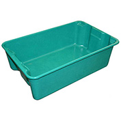 "Molded Fiberglass Nest and Stack Tote 780308-5170 - 19-3/4"" x 12-1/2"" x 6"" Green - Pkg Qty 12"