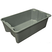 "Molded Fiberglass Toteline Nest and Stack Tote 7805085172 - 24-1/4"" x 14-3/4"" x 8"", Gray - Pkg Qty 10"