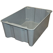 "Molded Fiberglass Toteline Nest and Stack Tote 7806085172 - 25-1/4"" x 18"" x10"", Gray - Pkg Qty 5"