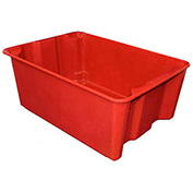 "Molded Fiberglass Nest and Stack Tote 780608-5280 - 25-1/4"" x 18"" x10"", Pkg Qty 5, Red - Pkg Qty 5"