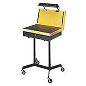 "Hubbell Deluxe Double Leg Inspection Stand, 26""W x 20""D x 36 to 50""H, Yellow"