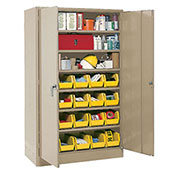 Locking Storage Cabinet With (18) Yellow Removable Bins, 30x15x66
