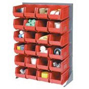 "Louvered Bin Rack With (24) Red Stacking Bins, 35""W x 15""D x 50""H"