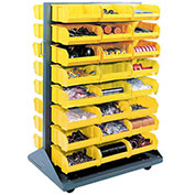 Double-Sided Mobile Rack with (88) Yellow Bins, 36x25-1/2x55