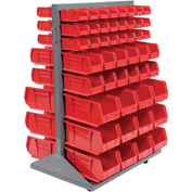Double-Sided Mobile Rack with (100) Red Bins, 36x25-1/2x55